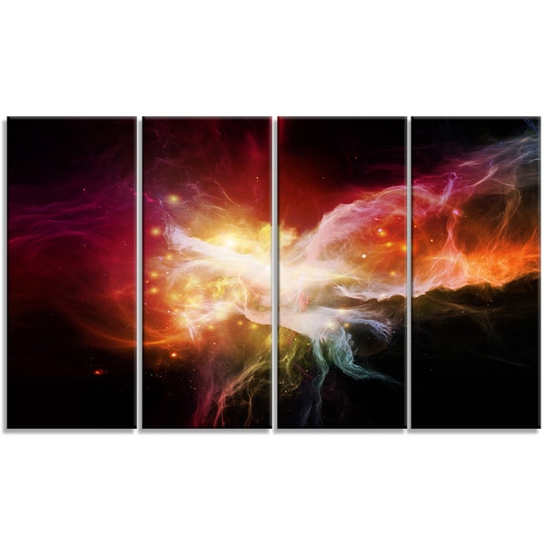 Designart - Elegance of Nebulae -4 Panels Abstract Canvas Artwork