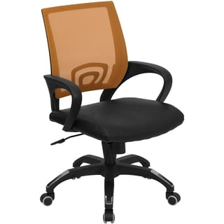 Rerna Orange Mesh Swivel Adjustable Office Chair with Black Leather Padded Seat