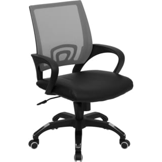 Rerna Grey Mesh Swivel Adjustable Office Chair with Black Leather Padded Seat