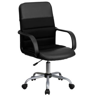 Beroan Black Leather and Mesh Adjustable Swivel Office Chair