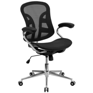 Lamu Black Mesh Adjustable Swivel Office Chair with Chrome Base and Padded Arms