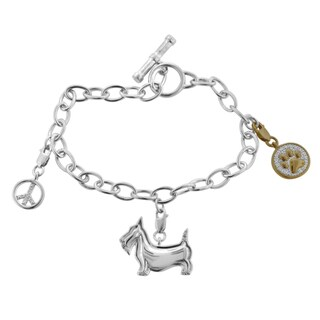 Bridal Symphony Sterling Silver 1/8ct TDW Diamond Scottie Dog Bracelet