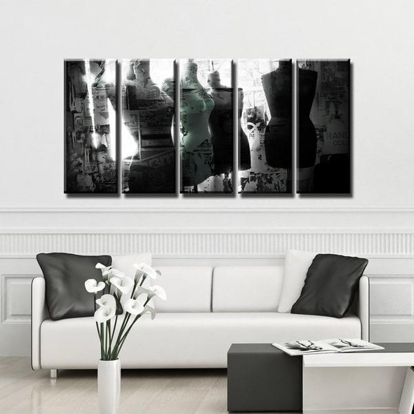 Ready2HangArt 'Urban Fashion VI' 5-PC Canvas Art Set - BLACK/WHITE