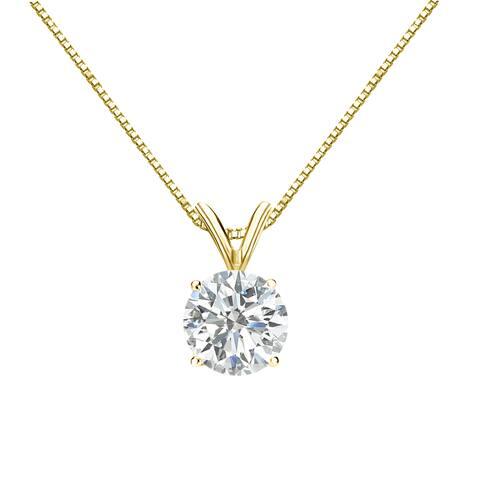 Auriya 1 carat TW Round Solitaire Diamond Necklace 14k Gold