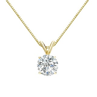 Auriya 14k Gold 1ct TDW Round-Cut Diamond Solitaire Necklace (I-J, SI2-SI3)