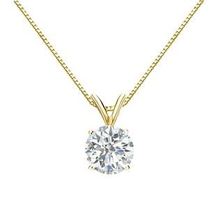 Auriya 14k Gold 1ct TDW Round Diamond Solitaire Necklace