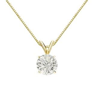 Auriya 14k Gold 1ct TDW Round-cut Diamond Solitaire Necklace (J-K, I1-I2)