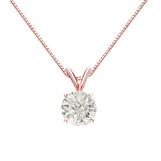 Auriya 14k Gold 1ct TDW Round-cut Diamond Solitaire Necklace (J-K, I1-I2)
