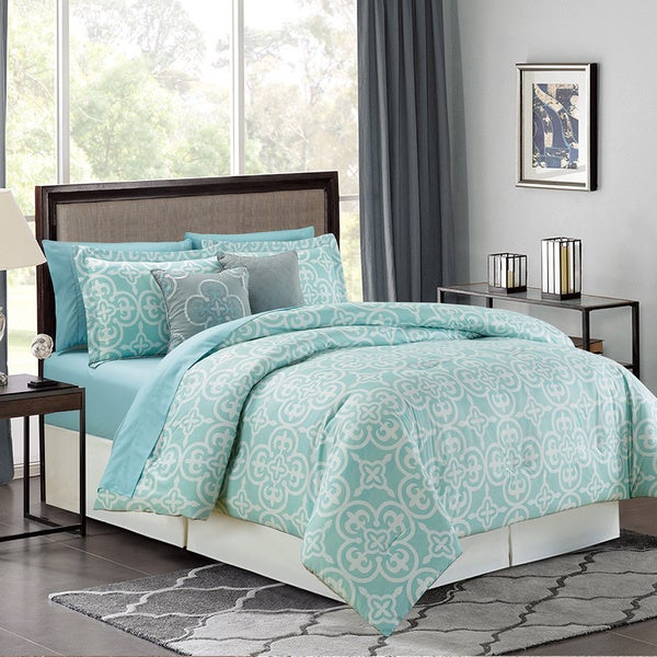 Pottia Luxury 9-Piece Bed in a Bag Comforter with Sheet Set