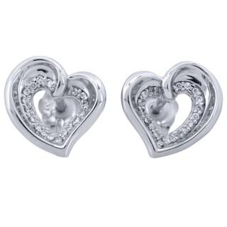 Sterling Silver 1/6ct TDW Diamond Heart Earrings