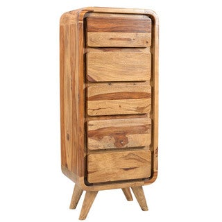 Wanderloot Oslo Mid-century Modern Solid Sheesham 5-drawer Lingerie Chest (India)