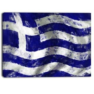 Designart - Flag of Greece - Contemporary Canvas Art Print
