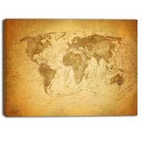 Designart - Vintage Classic Map - Contemporary Canvas Art Print