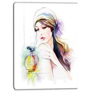 Designart - Woman with Perfume Bottle - Portrait Contemporary Canvas Art Print