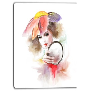 Designart - Woman with Mirror - Digital Canvas Art Print