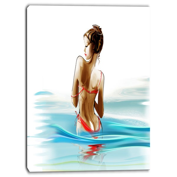 Designart - Woman in Bikini - Sensual Canvas Art Print