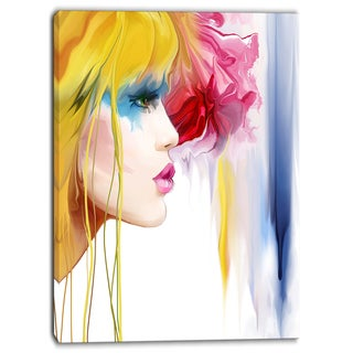 Designart - Girl with Colorful Hair - Portrait Contemporary Artwork