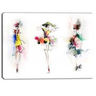 Designart - Fashion Girls Posing - Contemporary Canvas Art Print