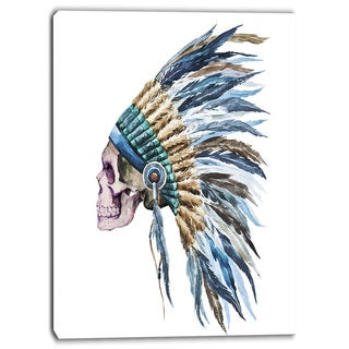 Designart - American Native Hat and Skull - Digital Canvas Art Print