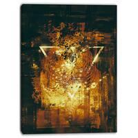 Designart - Abstract Golden Elements - Digital Abstract Canvas Art Print