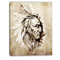 Designart - American Indian Illustration - Portrait Canvas Print - White