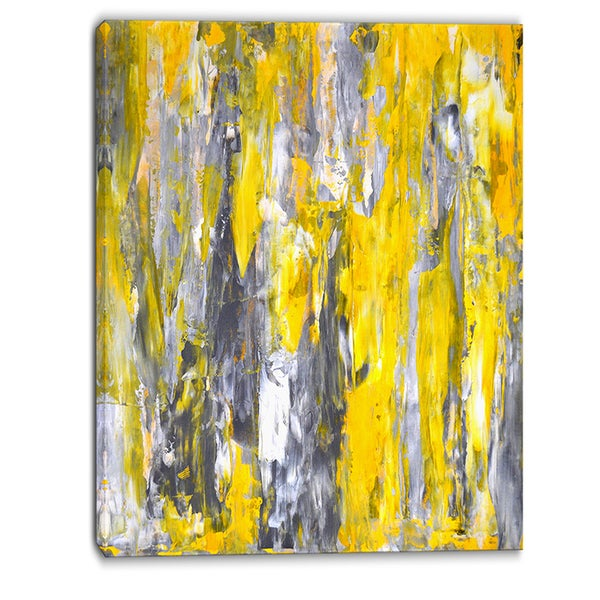 Designart - Grey and Yellow Abstract Pattern - Abstract Canvas Print