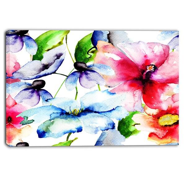 shop designart watercolor flowers everywhere floral canvas art