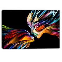 Designart - Kissing Minds Graphic Art - Abstract Canvas Art Print
