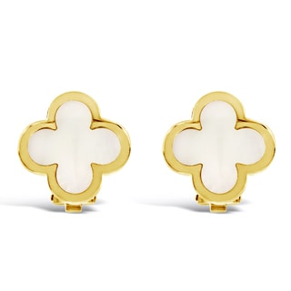 Van Cleef & Arpels 14k Yellow Gold Pure Alhambra Estate Earstuds
