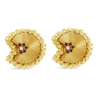 David Webb 18k Yellow Gold 1/6ct TDW Diamond and Ruby Fan Estate Earrings