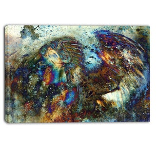 Designart - Indian Woman Collage with Lion - Woman Canvas Print - Blue