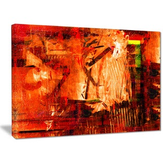 Designart - Abstract Fire Red - Abstract Canvas Artwork