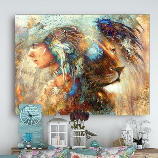 Designart - Indian Woman Collage with Lion - Indian Canvas Artwork - Brown