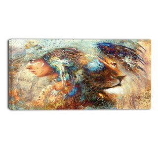 Designart - Indian Woman Collage with Lion - Indian Canvas Artwork