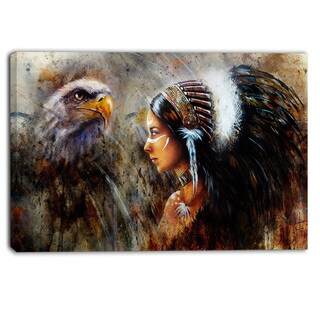 Designart - Indian Woman with Feather Headdress - Indian Canvas Artwork