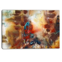 Designart - Artistic Brown - Abstract Canvas Artwork - red/blue/brown