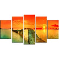 Designart - Fabulous Sunset Panorama - Photo Seascape Canvas Print