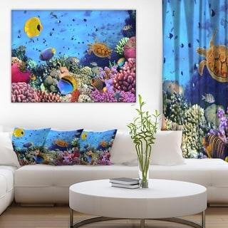 Designart - Coral Colony and Coral Fishes - Seascape Photo Canvas Print