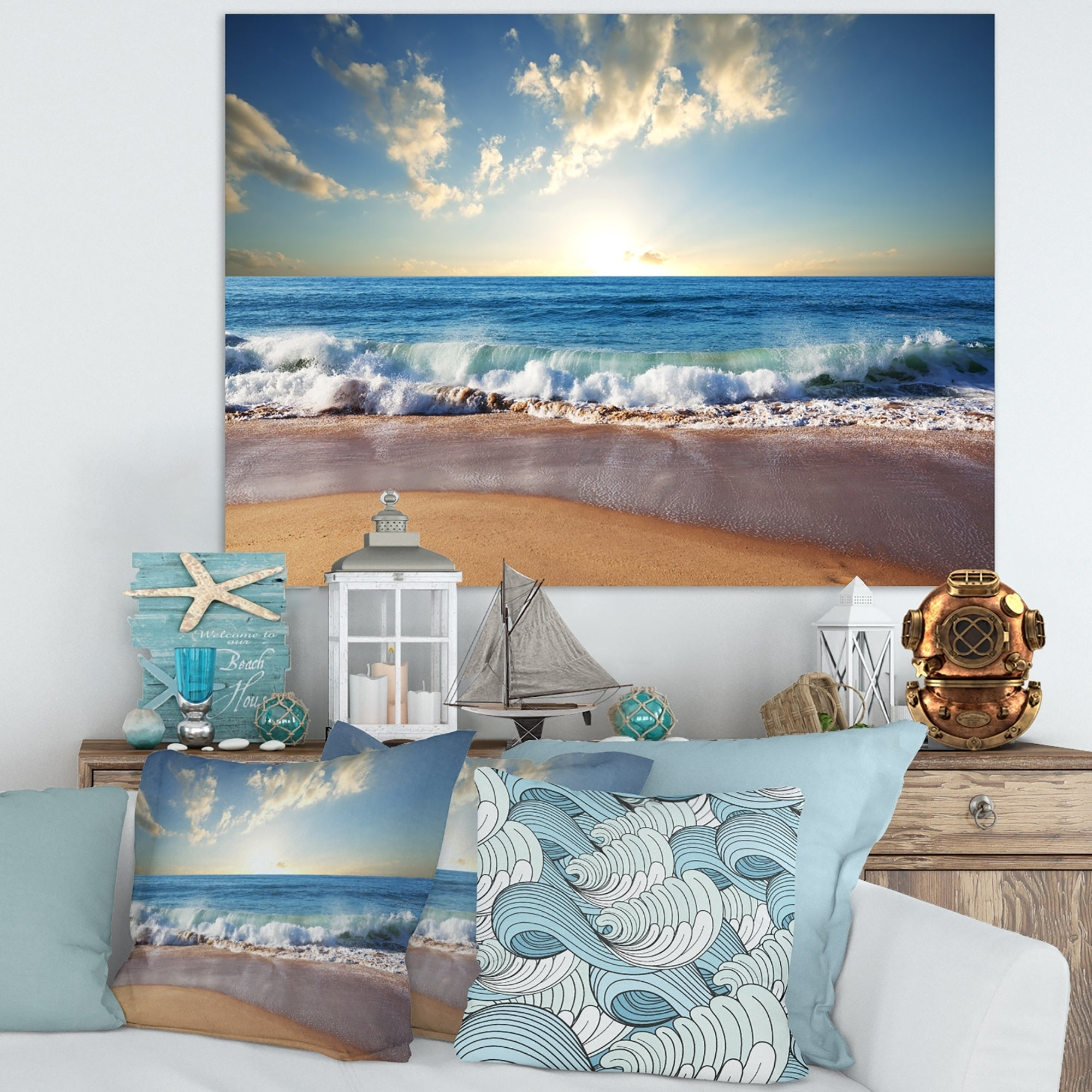 LARGE PHOTOGRAPHIC BEACH CANVAS ART PRINT SEASCAPE A1