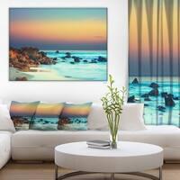 Designart - Sunset Over Blue Sky - Seascape Photography Canvas Print