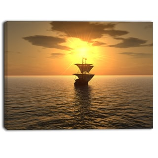 Designart - Ship and Sunset - Seascape Photography Canvas Print