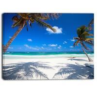 Designart - Coconut Palms at Beach - Photo Landscape Canvas Art Print