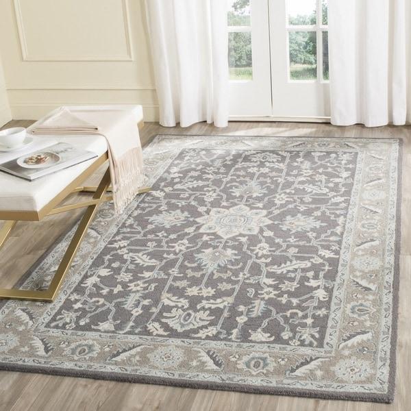 Safavieh Handmade Blossom Dark Grey/ Light Brown Wool Rug - 4' x 6'