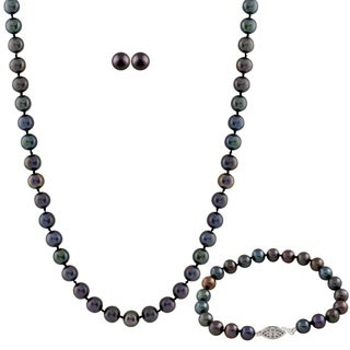 Sterling Silver Pearl 3-piece Set