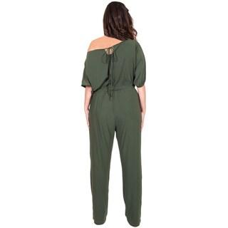 KOH KOH Women's Plus Size One Shoulder 3/4 Sleeve Elastic Waist Band Versatile Jumpsuit