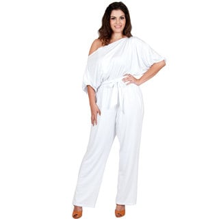 KOH KOH Women's Plus Size One Shoulder 3/4 Sleeve Elastic Waist Band Versatile Jumpsuit
