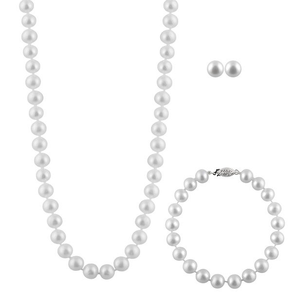 Sterling Silver White Pearl 3-piece Set (8 mm)