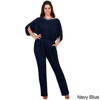 KOH KOH Women's Plus Size Batwing Sleeves Round Neck Cocktail Jumpsuit (Option: Navy blue - XXL)
