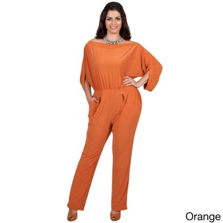 KOH KOH Women's Plus Size Batwing Sleeves Round High Neck Cocktail Jumpsuit (3 options available)