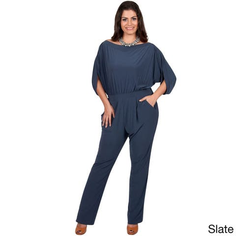 KOH KOH Women's Plus Size Batwing Sleeves Round Neck Cocktail Jumpsuit